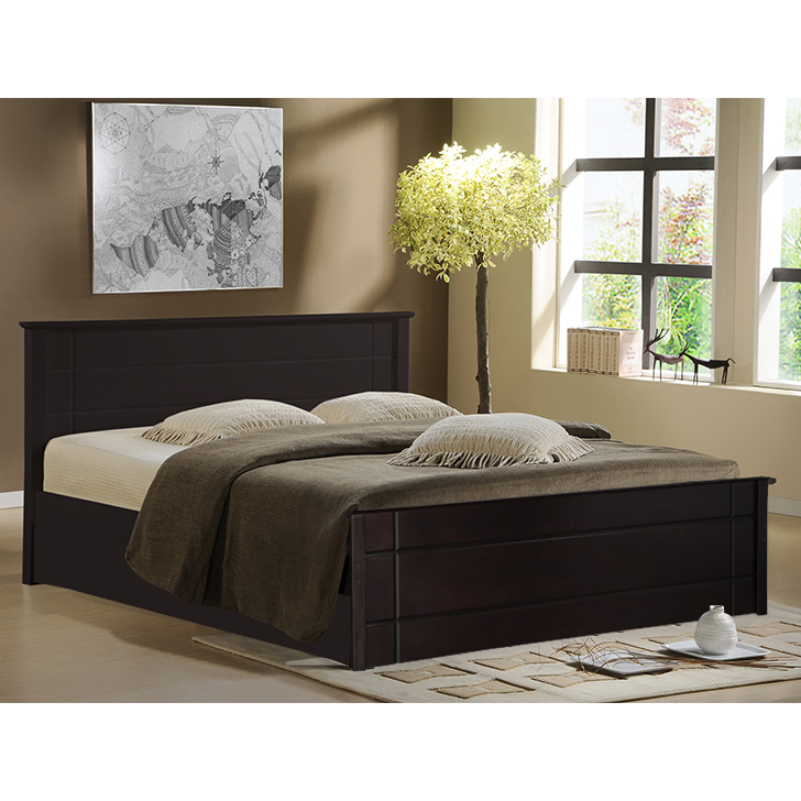 Zina Rubber Wood Box Storage Queen Size Bed in Cappuccino Brown Colour by HomeTown