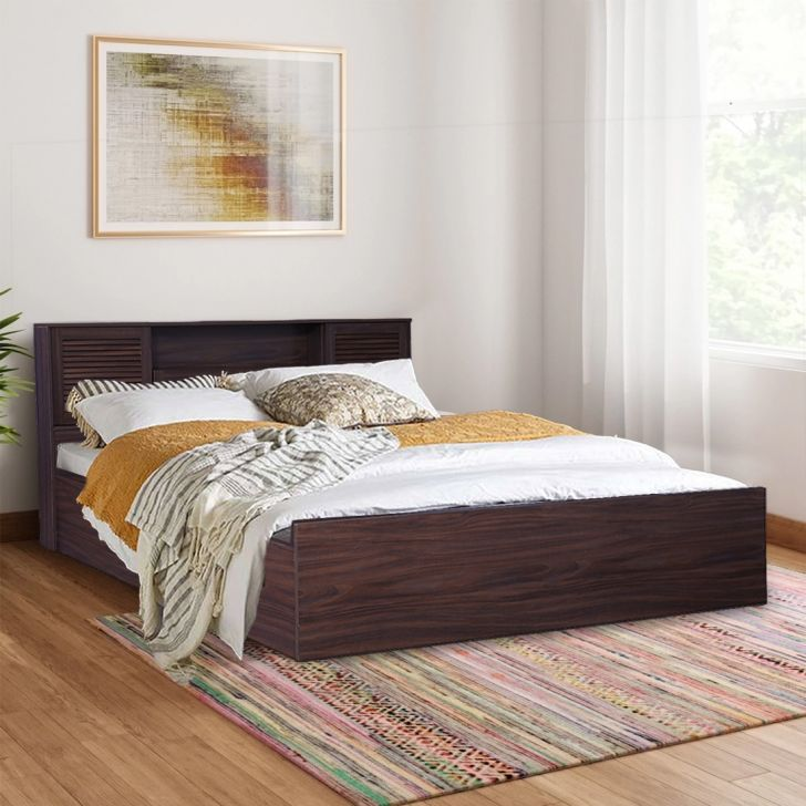 Bolton Engineered Wood Hydraulic Storage Queen Size Bed in Walnut Colour by HomeTown