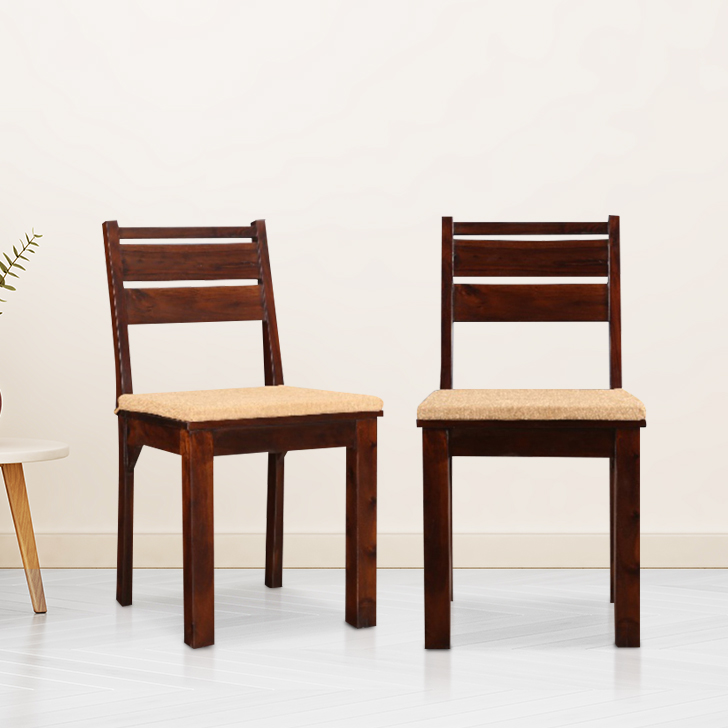 Java Solid Wood Dining Chair Set of Two in Light Brown Colour by HomeTown