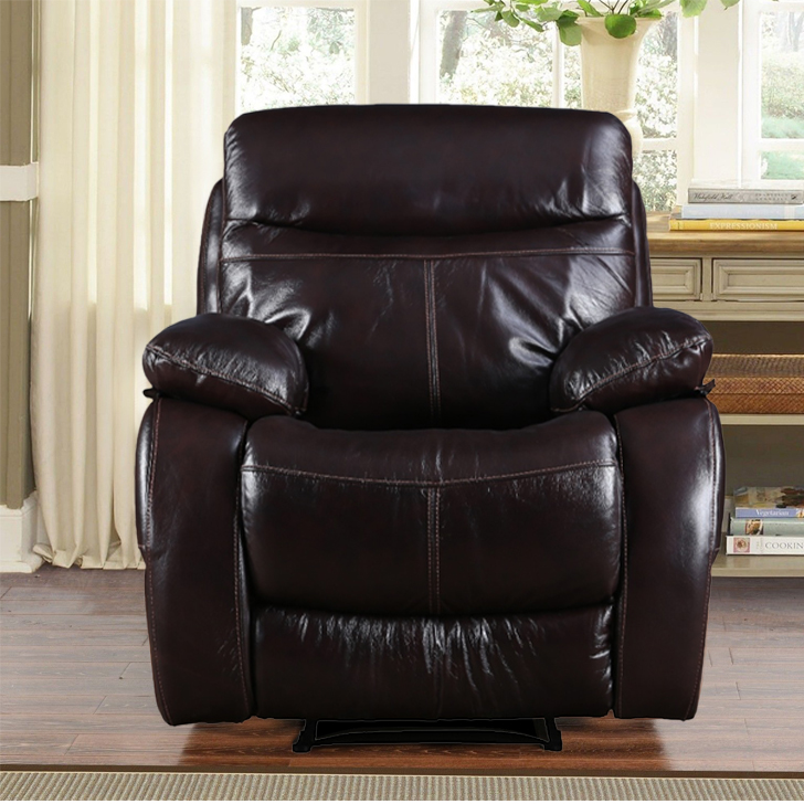 Russel Half Leather Single Seater Recliner in Dark Brown Colour by HomeTown
