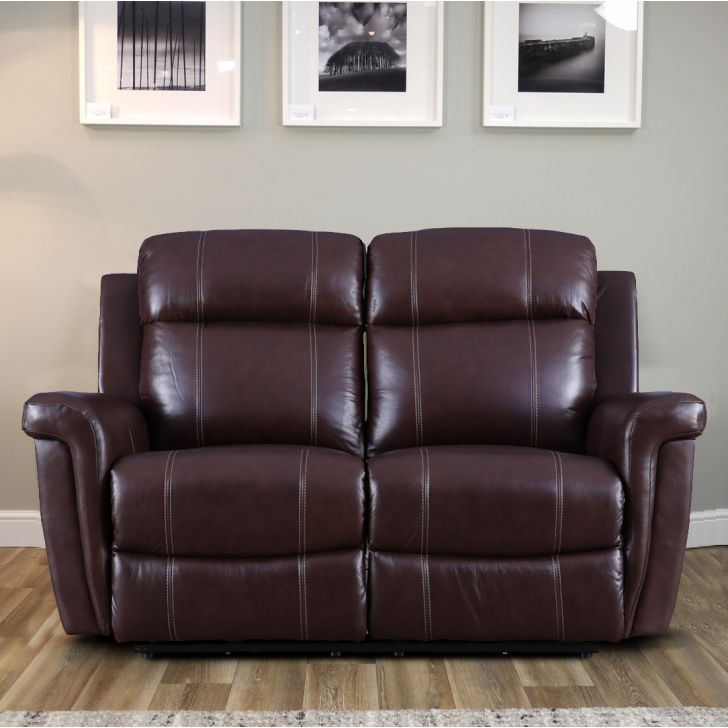 Gatwick Half Leather Two Seater Electric Recliner in Cognac Colour by HomeTown