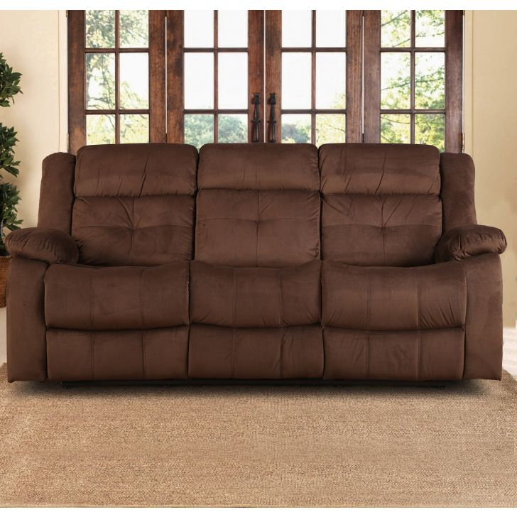 Christopher Fabric Three Seater Recliner in Brown Colour by HomeTown