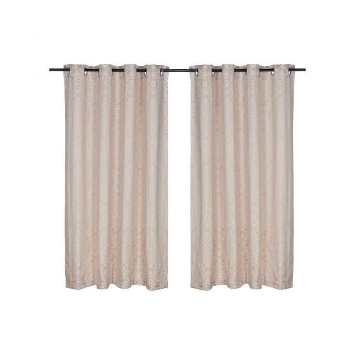Fiesta Jacquard Polyester Window Curtains in Beige Colour by Living Essence