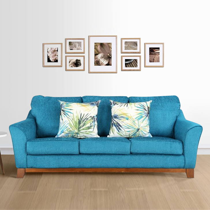 Rotterdam Fabric Three Seater sofa in Turquoise Colour by HomeTown