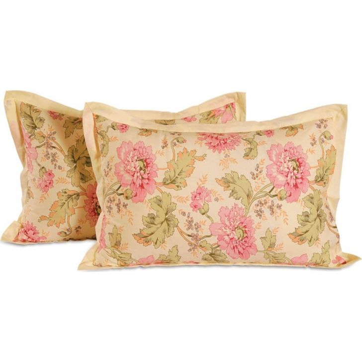 Solid Single Pillow Cover In Beige& Pink Color By Swayam