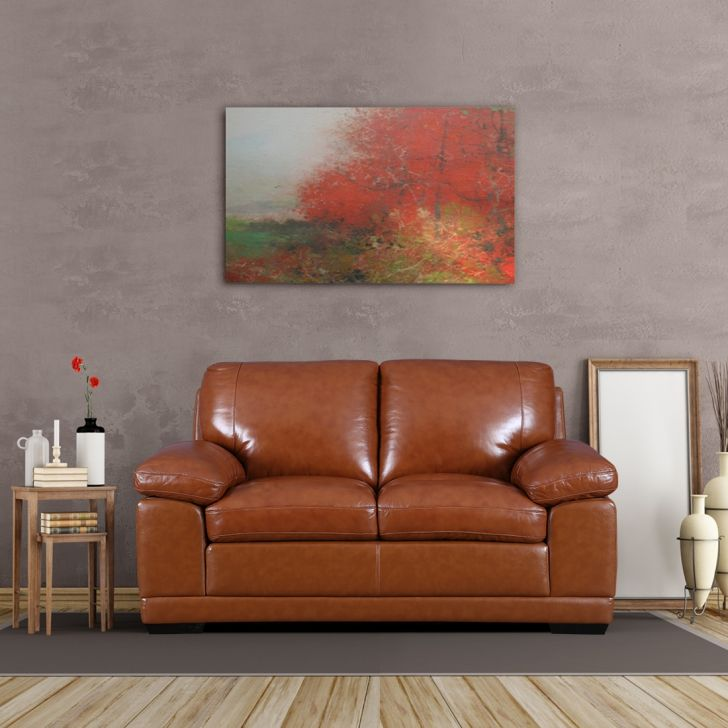 Renley Half Leather Two Seater Sofa in Brown Colour by HomeTown