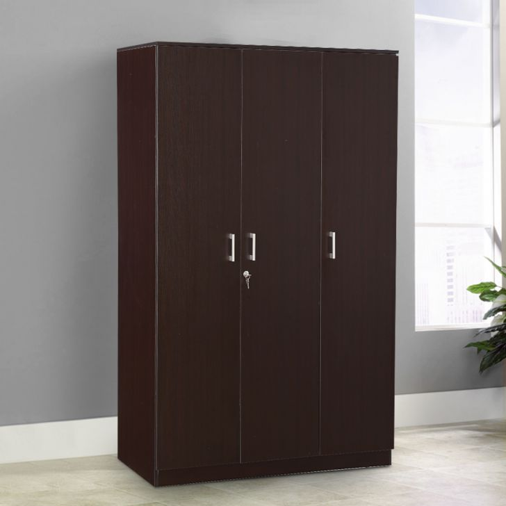 Prime Engineered Wood Three Door wardrobe in Wenge Colour by HomeTown