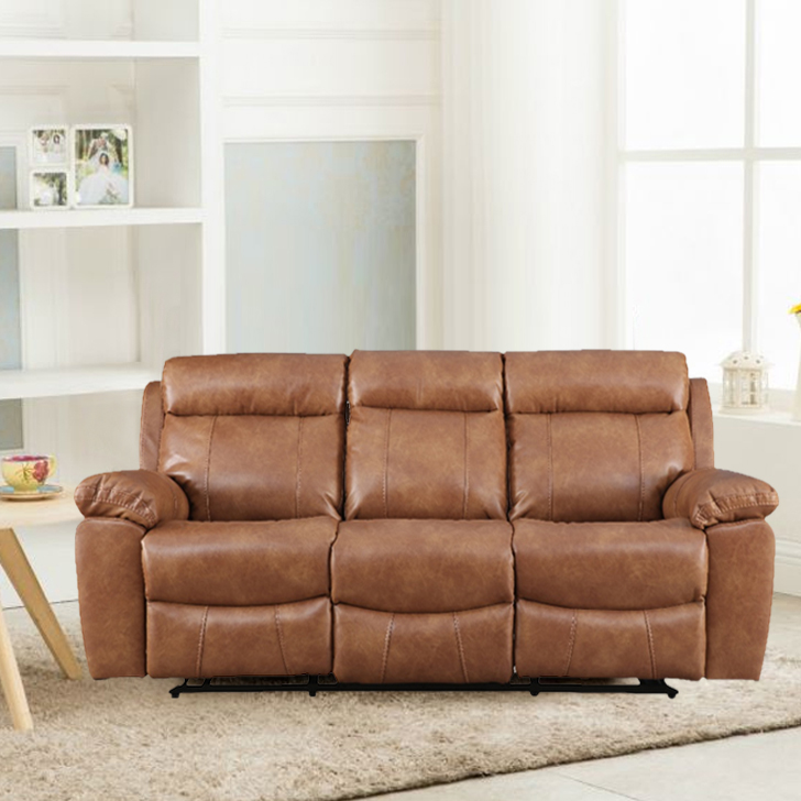 Barnes Pine Three Seater Recliner in Caramel Colour by HomeTown
