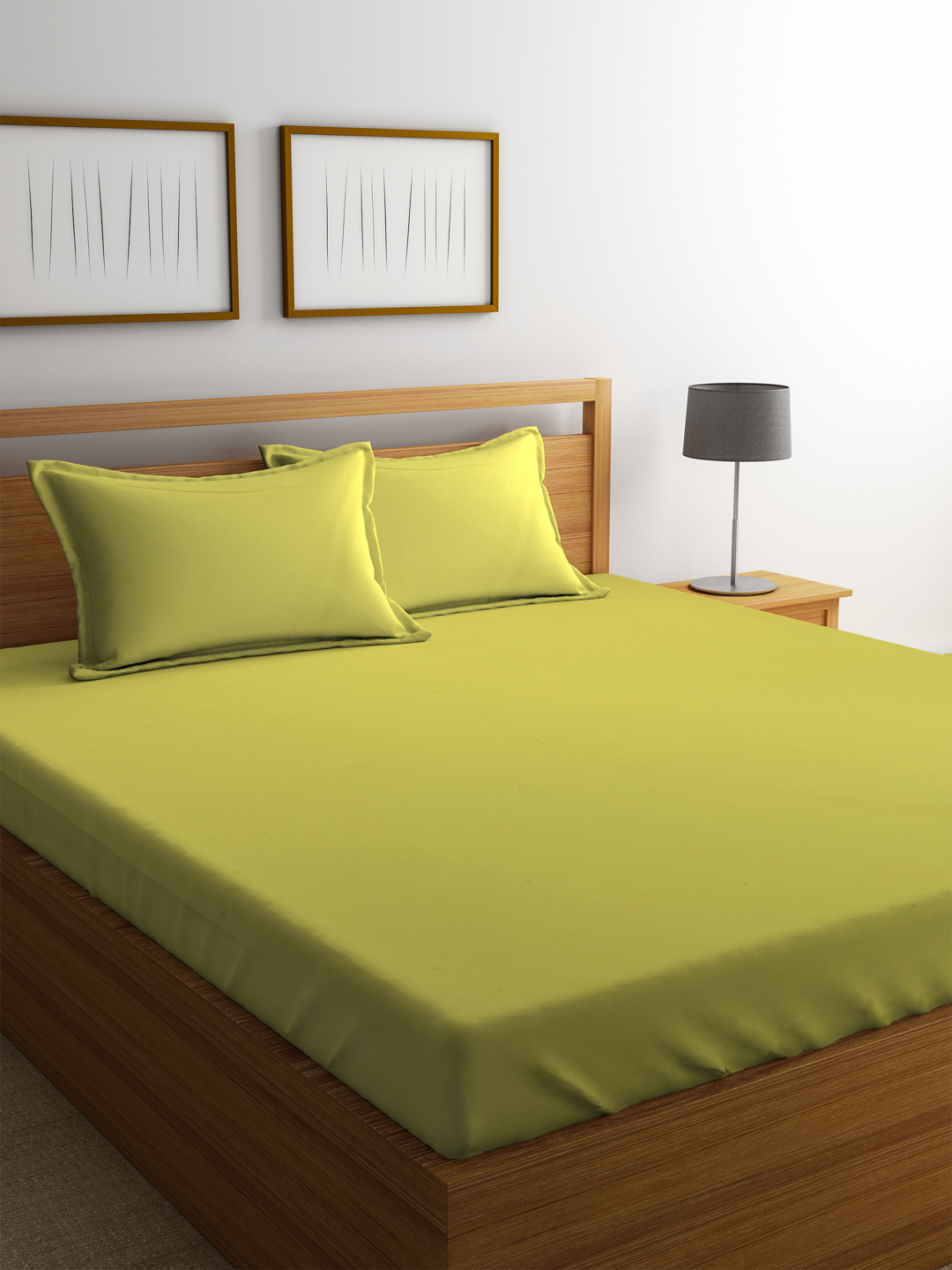 Portico Percale Cotton Double Bed Sheets in Green Colour by Portico