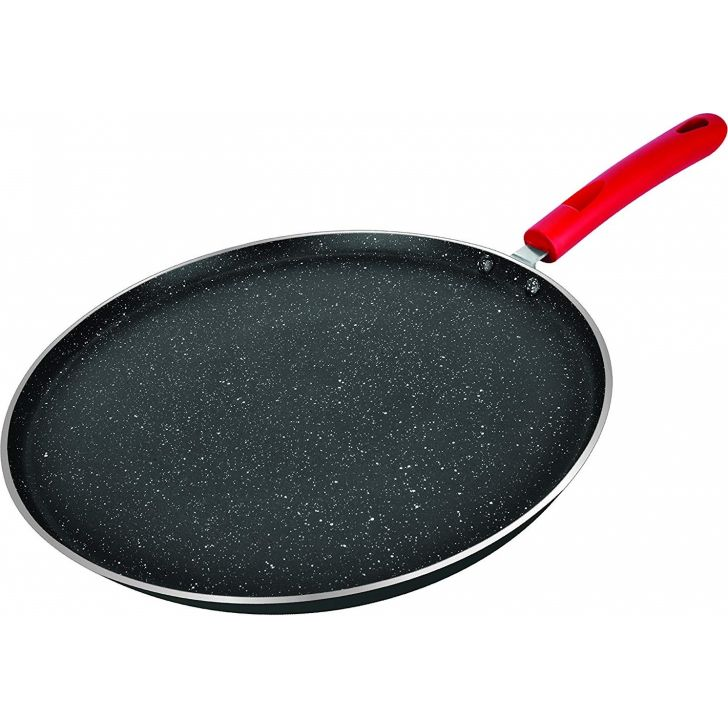 Red Rock Flat Tawa 25 cm (WBIN-3620) Aluminium Cookware in Red Colour by Wellberg
