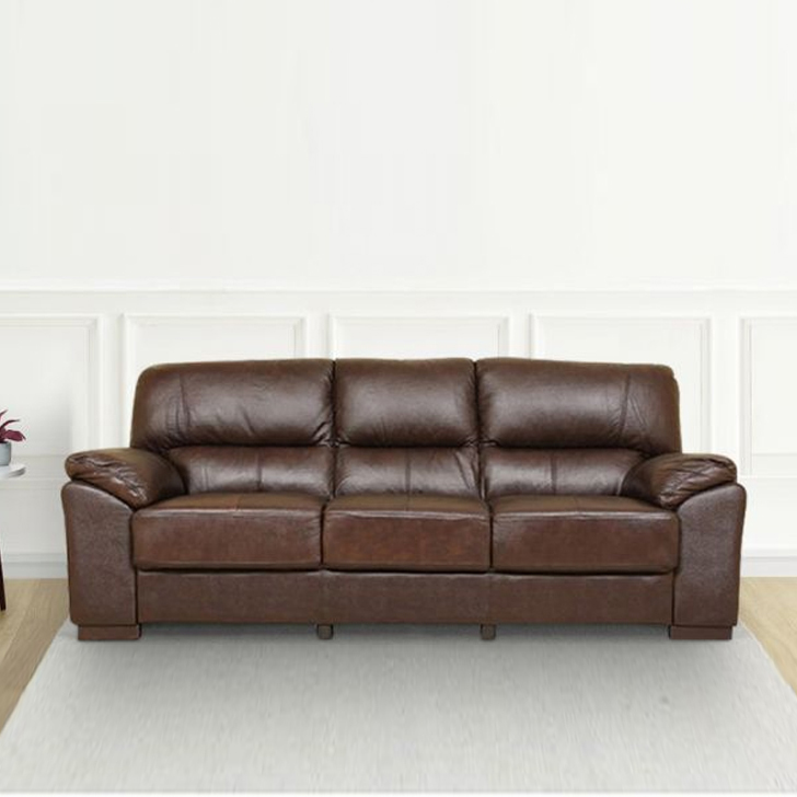 Martin Fabric & Leatherette Three Seater sofa in Brown Colour by HomeTown