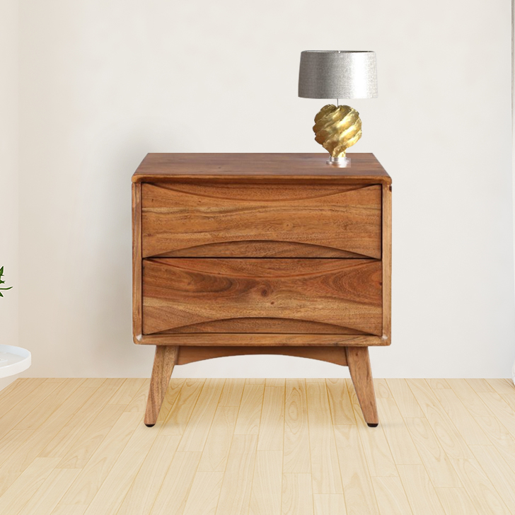 Nordland Acacia Wood Bedside Table in Walnut Brown Colour by HomeTown