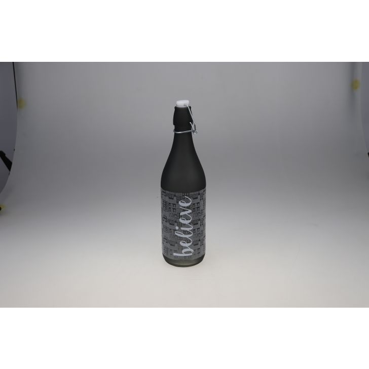 Manhattan Glass Grey Frosted Bottle 1L in Grey Colour by Living Essence