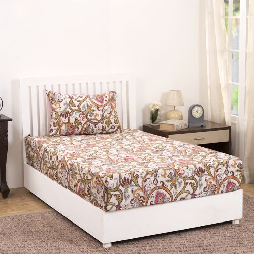 9cbdeee300 Buy 210 TC Palmette Scroll Cotton Single Bedsheet with 1 Pillow Cover in  Red Colour by Maspar Online at Best Price - HomeTown.in