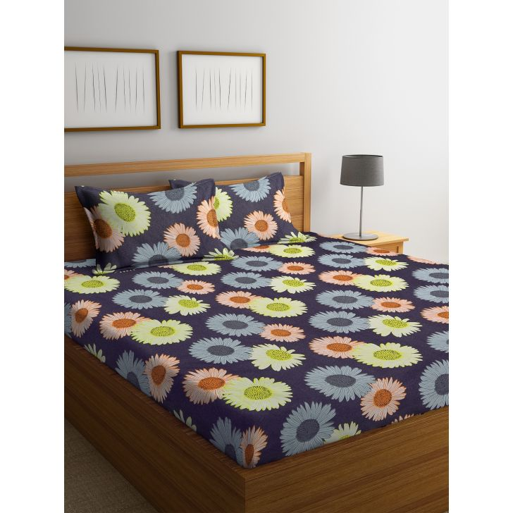Carnival Double Bedsheet 220 x 230 CM in Blue Green Colour