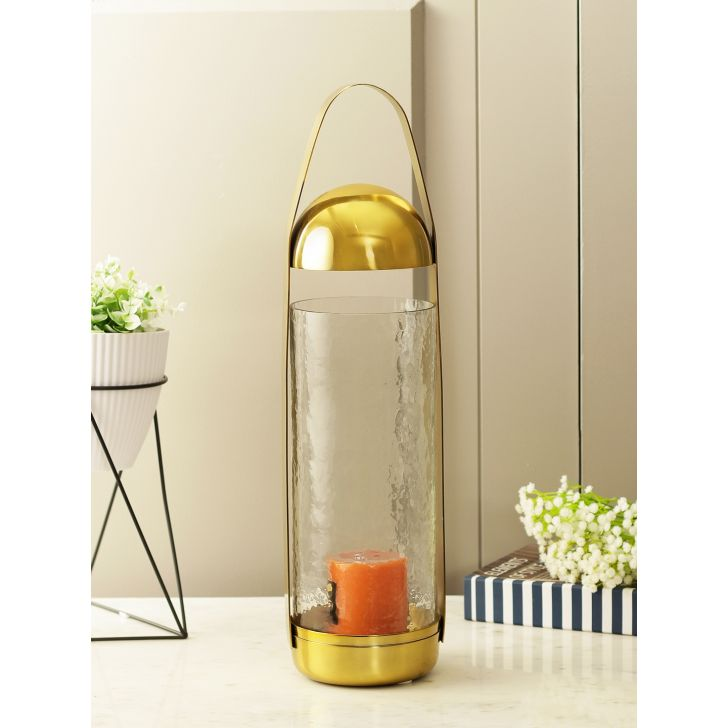 Mehr Glass Candle Holder in Gold Colour by HomeTown