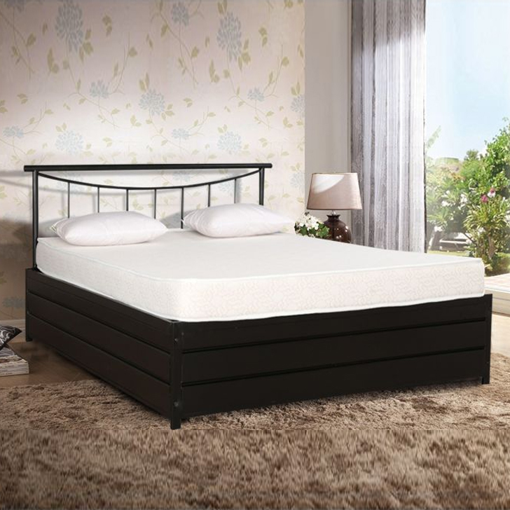 Texas Engineered Wood Hydraulic Storage Queen Size Bed in Black Colour by HomeTown