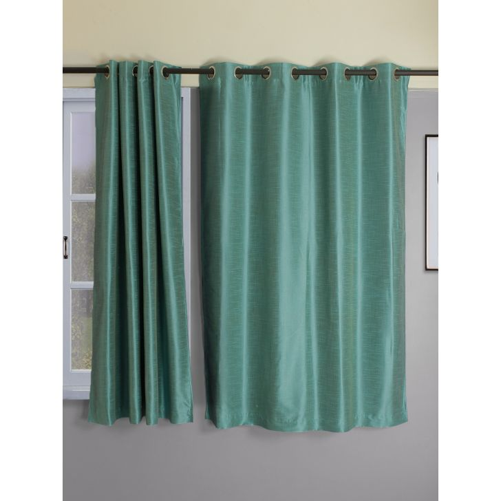 Set of 2 Emilia Blackout Polyester Window Curtains in Turquoise Colour by Living Essence