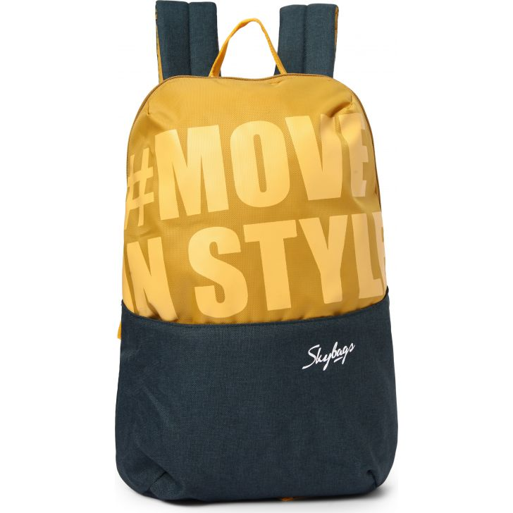 Casual Backpack Polyester Backpack in Yellow Colour by SKYBAGS