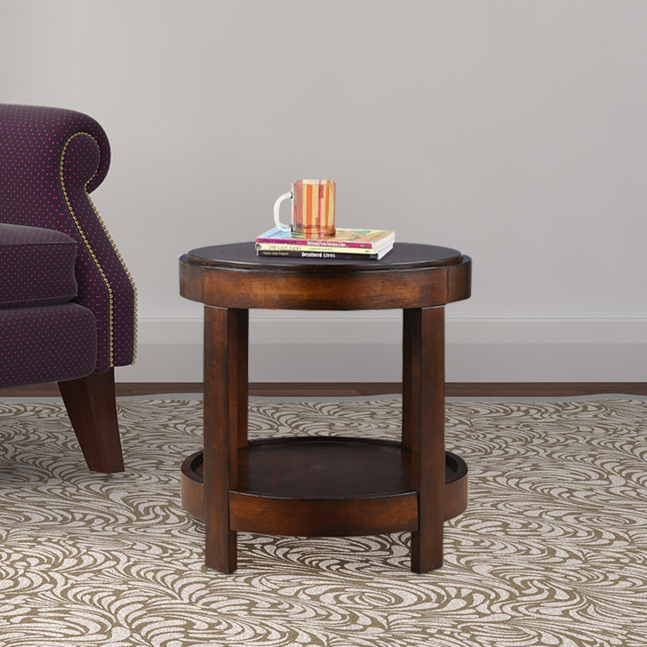 Cyrus Engineered Wood End Table in Walnut Colour by HomeTown