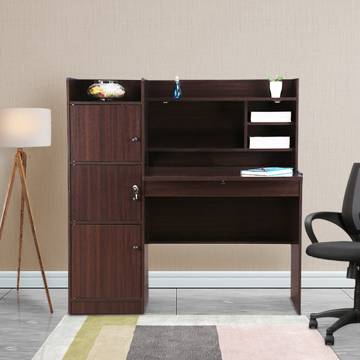 Venus Engineered Wood Study Table in Walnut Colour by HomeTown