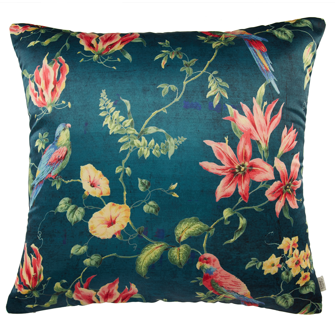 Digital Cushion Cover Vintage Flora Teal Cushion Covers in Poly Satin Colour by Living Essence