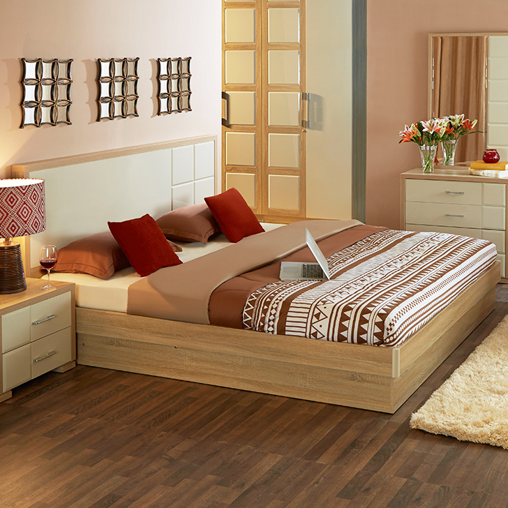 Geo Engineered Wood Hydraulic Storage Queen Size Bed in Beige And Cream Colour by HomeTown