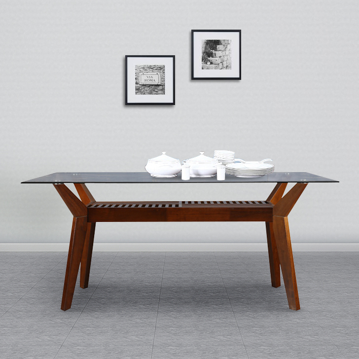 Wesco Solid Wood Six Seater Dining Table in Oak & Espresso Colour by HomeTown