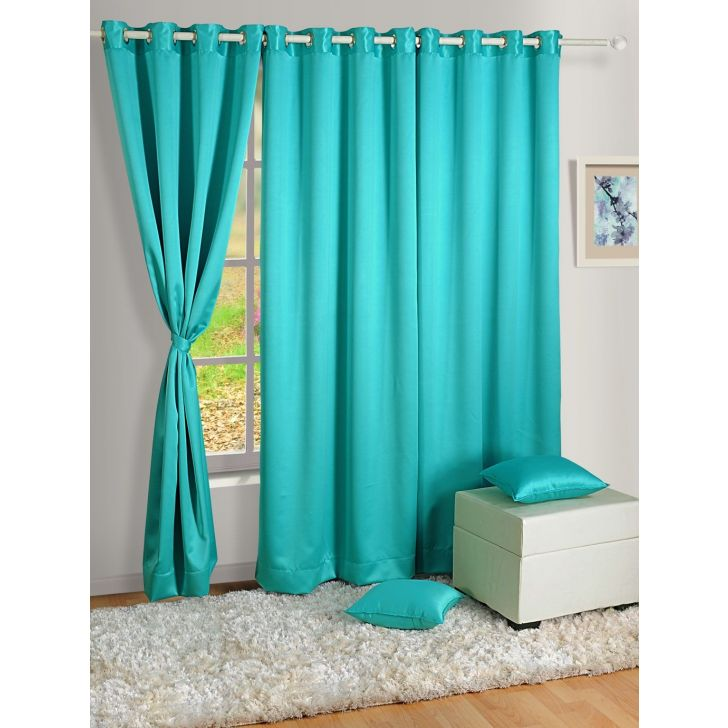 Solid Blackout Door Curtain In Turq Color By Swayam
