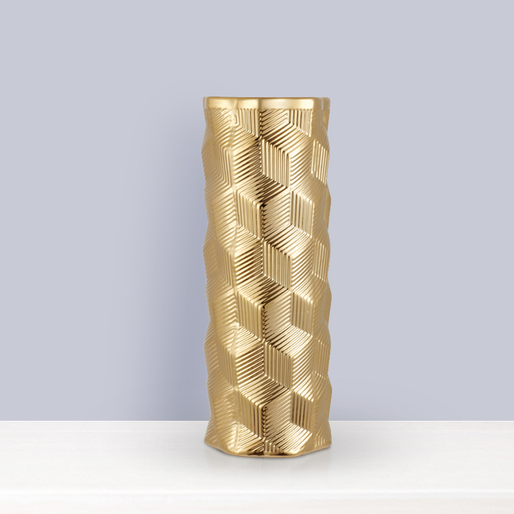 Blake Cube Textre Gold Vase Big 37Cm Ceramic Vases in Gold Colour by Living Essence