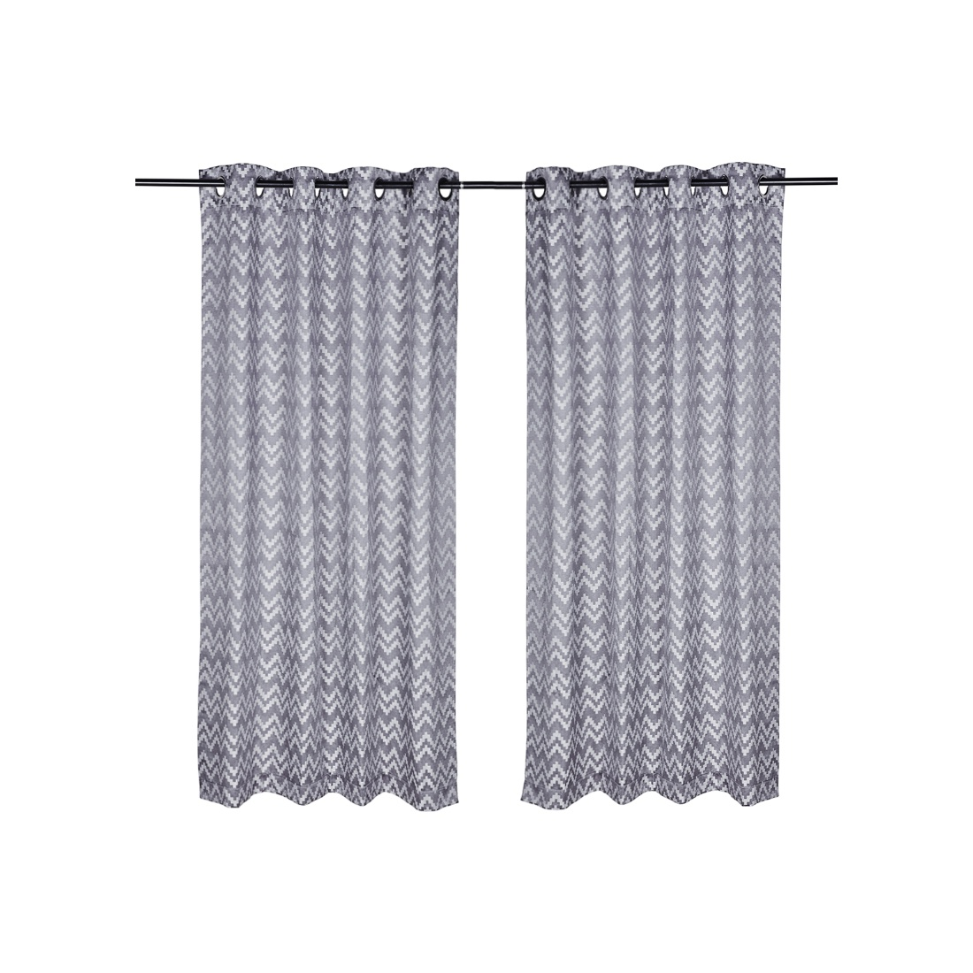 Florina Polyester Window Curtains in Charcoal Colour by Living Essence