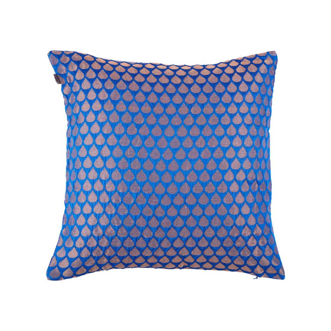 Drop Cushion Cover Blue Polyester Cushion Covers in Blue Colour by Living Essence