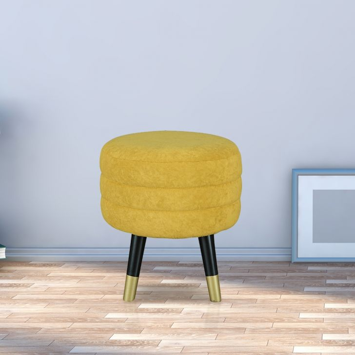 Crown Solid Wood Ottoman in Mustard Color by HomeTown