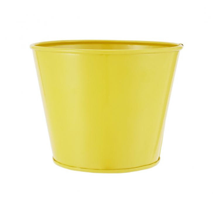 Aria Round Planter Plain Small Yellow Metal Pots & Planters in Yellow Colour by Living Essence