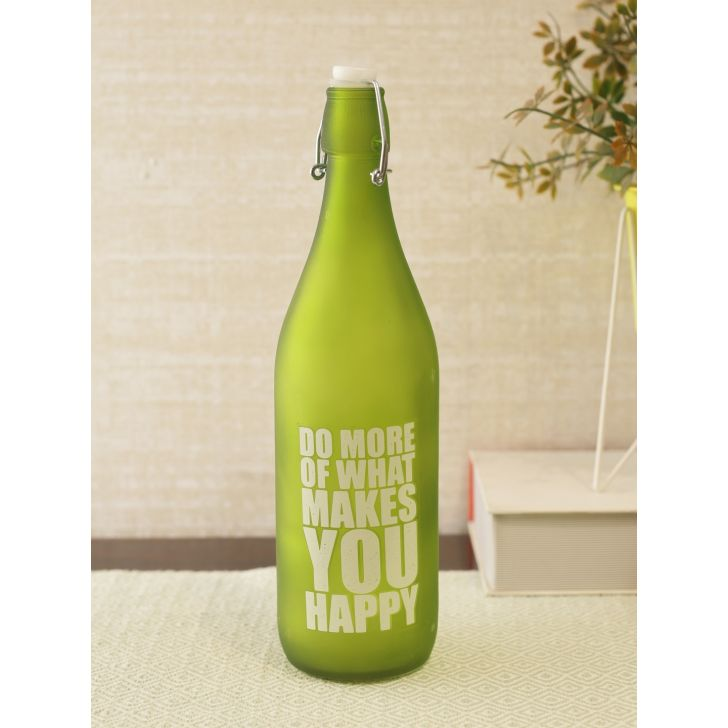 Lime Quoted Glass Frosted Bottle in Green Colour by Living Essence