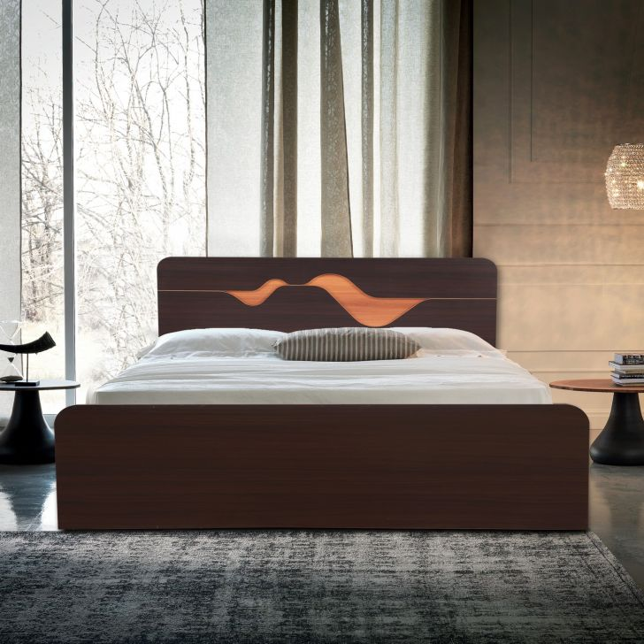 Tweady Engineered Wood Queen bed without storage in Dark Oak Colour
