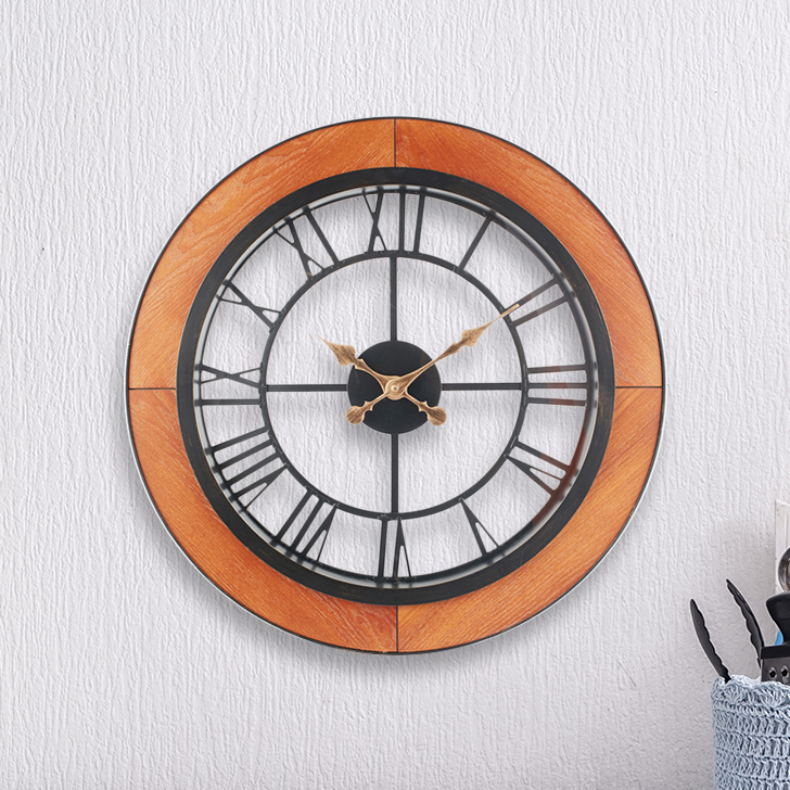 Aristo Simple Roman Clock With Wood Border Classic Clocks in Brown, Neutrals Colour by Living Essence