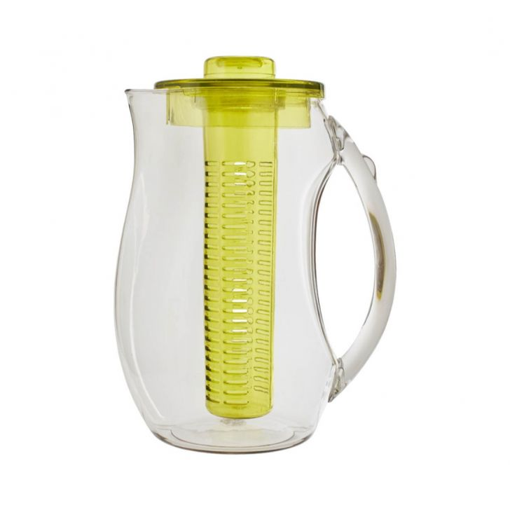 Pitcher With Fruit Infuser 1000Ml Plastic Glass Bottles in Transparent Jug & Green Infuser Colour by Living Essence
