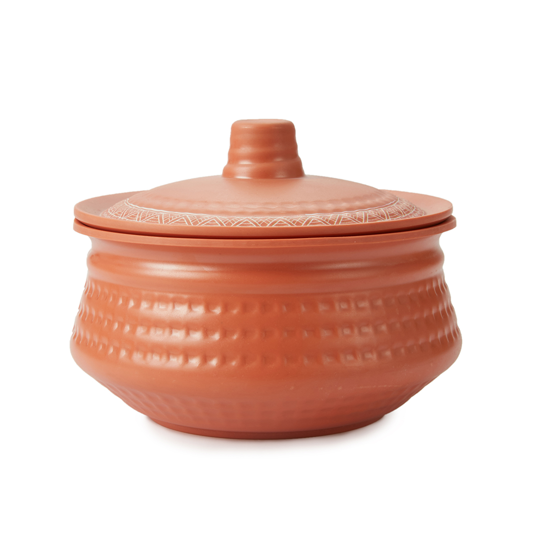 Terracotta Round Handi Small With Lid Bowls in Brown Colour by Living Essence