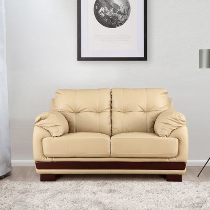 Gilbert Half Leather Two Seater sofa in Beige Colour by HomeTown