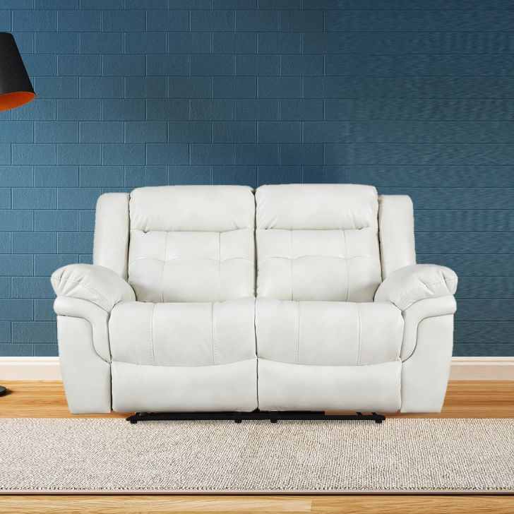 Eclairs Solid Wood Two Seat Recliner in Beige Colour by HomeTown
