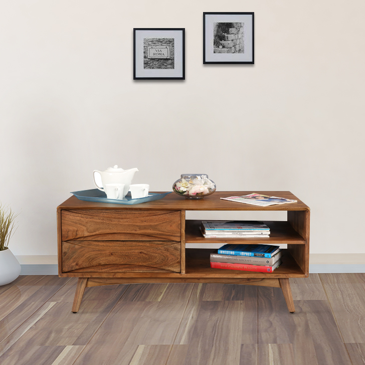 Nordland Acacia Wood Center Table in Walnut Brown Colour by HomeTown