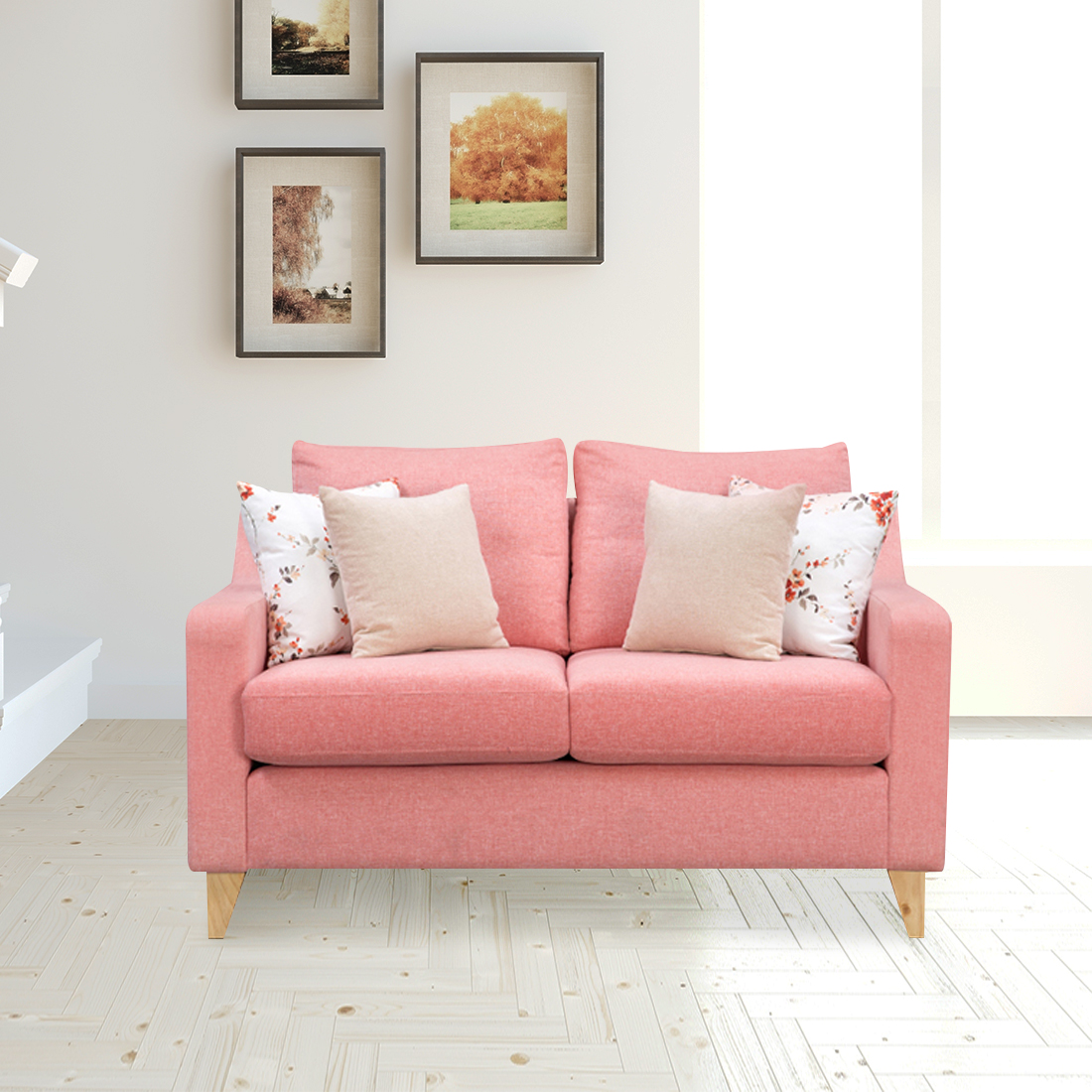 Pompeii Fabric Two Seater Sofa in Coral Colour by HomeTown