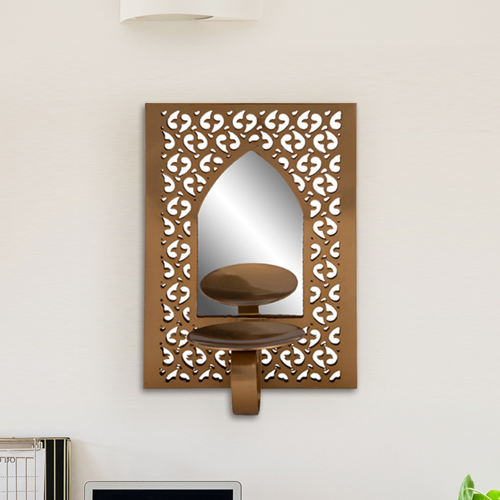 Mehr Wall Mirror With  Candle Holder Iron Candle Holder in Gold Colour by Living Essence
