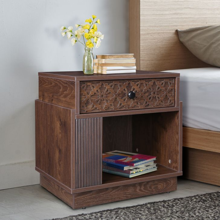Hugo Engineered Wood Night Stand in Walnut Colour by HomeTown