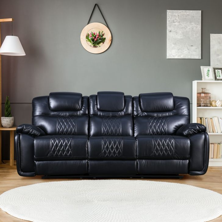Volga Leatherette Three Seater Recliner in Black Colour by HomeTown