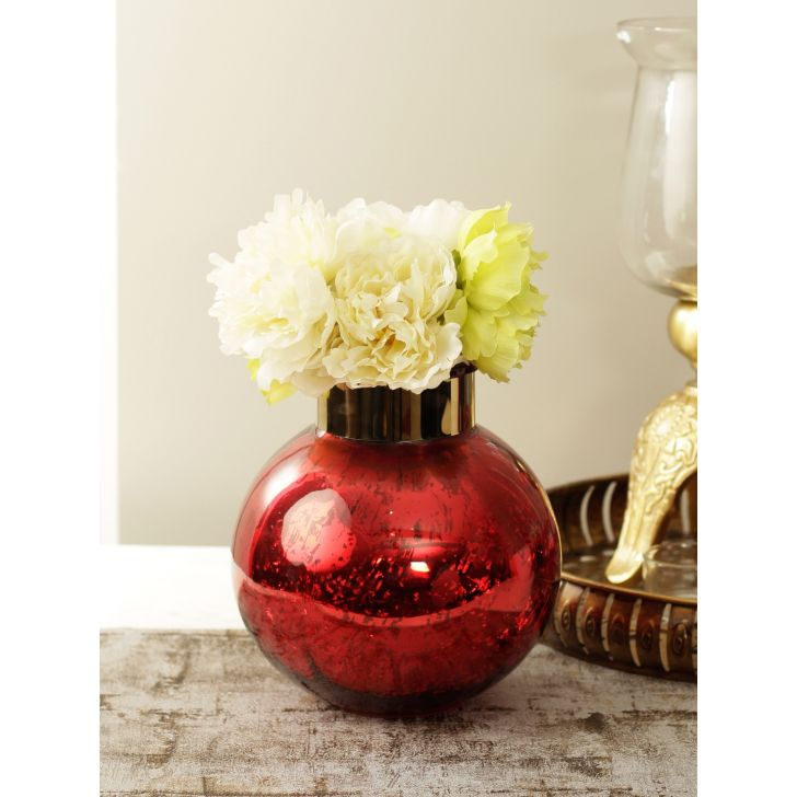Marvela Glass Candle Holder in Red Colour by HomeTown