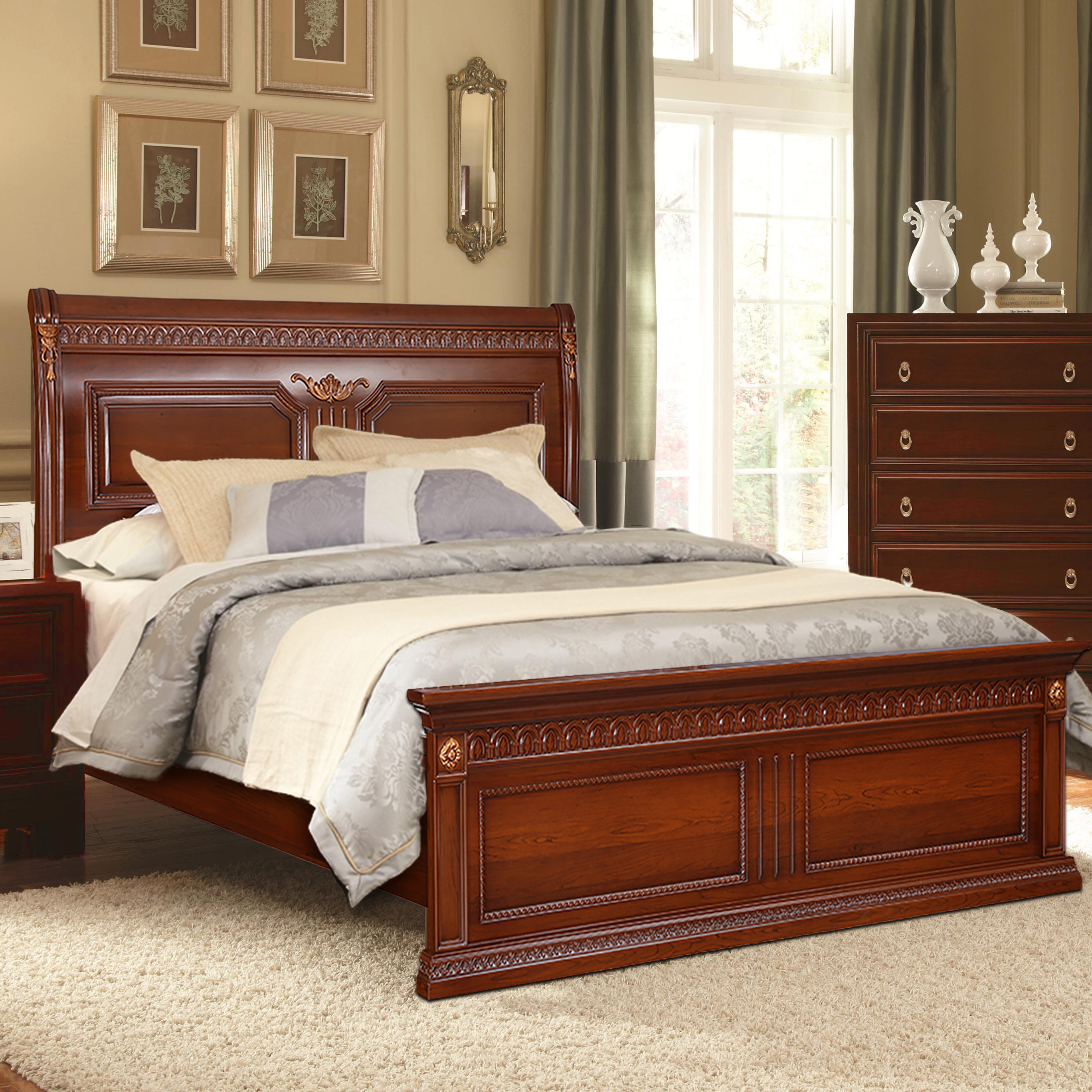 Morrison Engineered Wood Hydraulic Storage King Size Bed in Red Cherry Colour by HomeTown