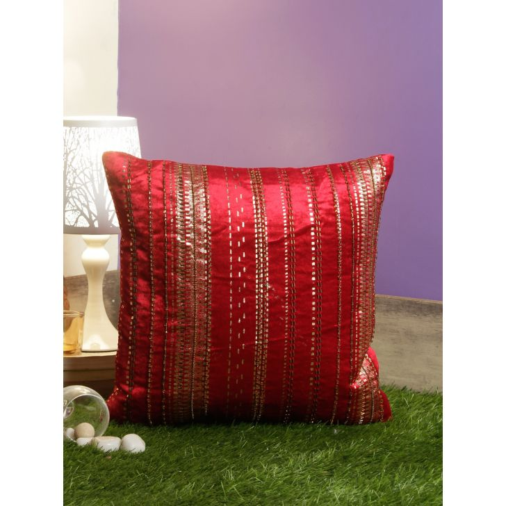 Folklore Ruby Polyester Cushion Covers in Red Colour by Living Essence