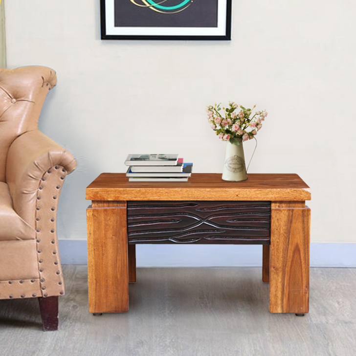 Leopold Solid Wood End Table in Walnut  & Black Colour by HomeTown